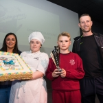 10/04/2019 Chef Tameka Bell from Limerick Youth Service Bakery along with prizewinner Leon Daly, aged 12, from Corpus Christi National School, and his parents Jane Daly and Gordon Daly.  Limerick Learning Neighbourhoods event at The Life Centre, Henry Street, Limerick Picture by Diarmuid Greene