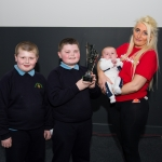 10/04/2019 Prizewinner Angus Bermingham, aged 10, from Our Lady Queen of Peace National School with his brothers Robbie, aged 8, and Christopher, aged 3 months, and their mother Jessica McNamara. Limerick Learning Neighbourhoods event at The Life Centre, Henry Street, Limerick Picture by Diarmuid Greene