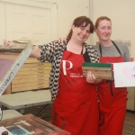 Kate O'Shea and Jess Tobin, Manager of Limerick Print Makers at the Print with Pride event at Limerick Print Makers. Picture: Sophie Goodwin