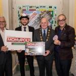 Pat O'Neill, Special Advisor to limerick City Monopoly, Jake Houghton, Monopoly, Cllr Kieran O'Hanlon, Mayor Limerick City and County, Graham Barnes, Limerick City Monopoly. Picture: Cian Reinhardt/ilovelimerick
