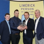 The All-Ireland Limerick Senior Hurling champions have been named Limerick Person of the Year 2018. John Kiely, Limerick Senior Hurling Manager and Senior hurlers Alan Feely, Richie English and Paul Browne pictured at the award ceremony for Limerick Person of the Year 2018 at the Clayton Hotel, Steamboat Quay, Limerick. Picture: Conor Owens/ilovelimerick.