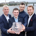 The All-Ireland Limerick Senior Hurling champions have been named Limerick Person of the Year 2018. Pictured at the award ceremony was John Kiely, Limerick Senior Hurling Manager with Limerick Senior Hurlers Alan Feely, Richie English and Paul Browne at the Clayton Hotel, Steamboat Quay, Limerick. Picture: Conor Owens/ilovelimerick.