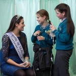 "Rose of Tralee Jennifer Byrne (left) pictured with Lorraine Ni Raghnaill and Sarah Ni Bhroin from Gaelscoil an Eiscir Riada, An Tulach Mhor, County Offaly with their project ""STEM- from Encyclopaedia to Wikipedia, what has changed in 100 years "" at this years RDS Primary Science Fair Limerick which will see over 3000 primary school students from all over the country exhibit their STEM investigations at Mary Immaculate College. Between the three venues of Limerick, Dublin and Belfast there will be over 7000 participants in 2018. Picture Sean Curtin True Media."