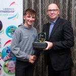 28/08/2018  Ben O'Shaugnessy from CBS Sexton Street, receives his Special Merit award from Dr Giles Warrington, head of department of Physical Education and Sport Sciences, University of Limerick. Limerick Sports Partnership VIP (Voluntary Inspired Participation) programme graduation 2018. Photo by Diarmuid Greene