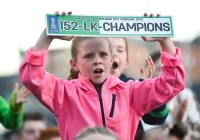 17.09.15  NO REPRO FEE  A young Limerick supporter during the homecoming celebration for the Limerick u21's after defeating Wexford in the Bord Gais Energy GAA Hurling All-Ireland U21 Championship Final in Semple Stadium on Saturday. Limerick City and County Council Corporate Headquarters, Merchants Quay, Limerick. Picture credit: Diarmuid Greene/Fusionshooters
