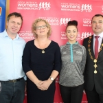 Janes Cleary, Event Director, Angela Moloney, Cook Medical Finance Director, Leanne Quinn, Westmeath Rose and Mayor James Collins at the launch of the Cook Medical Limerick Women's Mini-Marathon at the Strand Hotel, Monday, July 16, 2018. Picture: Zoe Conway/ilovelimerick.