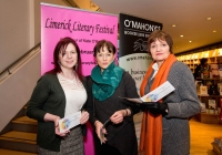Deirdre Flynn, Eileen O'Connor and Marie Hackett at the launch of the festival at O'Mahonys Bookstore.  A star-studded line up of participants has been confirmed for the 2015 Limerick Literary Festival, held annually in honour of Limerick-born novelist and playwright Kate O'Brien.   Taking place from February 20th to February 22nd, this year's festival features author visits, readings, lectures and panel discussions at 69 O'Connell St (formerly The Belltable) and The Lime Tree Theatre at Mary Immaculate College in Limerick City.   Festival organisers today unveiled a programme that features Edna O'Brien, novelist, memoirist, playwright, poet, short story writer and author of 'The Country Girls', as well as Man Booker Prize nominee Niall Williams, Poet, novelist, short-story writer and essayist Mary O'Donnell, poet John Montague, novelist Audrey Magee, and UL Frank McCourt Chair in Creative Writing Joseph O'Connor.   Images by Sean Curtin Photo.