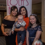 Pictured at Lola's Ball at the Greenhills Hotel in aid of ACT for Meningitis were Leah and Ruth Melling, Lola's Ball with Holly Nagle and baby Scott. Picture: Cian Reinhardt/ilovelimerick