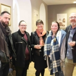 Ken Coleman, Aoife Byrne, Clodagh Twoney, Liane Heartlett and Adrian Byrne at the launch of Limerick Printmakers' new exhibition at the Hunt Museum on their 20th Anniversary. Picture: Conor Owens/ilovelimerick.