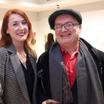 Jessica Tobin, Director of Limerick Printmakers and Gavin Hogg, practicing artist, at the launch of Limerick Printmakers' new exhibition at the Hunt Museum on their 20th Anniversary. Picture: Conor Owens/ilovelimerick.