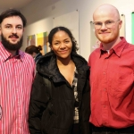 Dean Fitzgerald, Femi Akimrinde and Cathal Hagan at the launch of Limerick Printmakers' new exhibition at the Hunt Museum on their 20th Anniversary. Picture: Conor Owens/ilovelimerick.