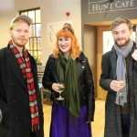Gavin Slattery, Anne-Marie Flannery and Rory O'Mahoney at the launch of Limerick Printmakers' new exhibition at the Hunt Museum on their 20th Anniversary. Picture: Conor Owens/ilovelimerick.