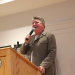 Pat Shortt, actor and comedian, speaking at the launch of Limerick Printmakers' new exhibition at the Hunt Museum on their 20th Anniversary. Picture: Conor Owens/ilovelimerick.