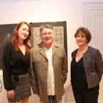 Jessica Tobin, Director of Limerick Printmakers, Pat Shortt, actor and comedian, and Jill Cousins, Director of the Hunt Museum, at the launch of Limerick Printmakers' new exhibition at the Hunt Museum on their 20th Anniversary. Picture: Conor Owens/ilovelimerick.