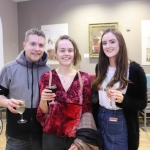 Jack Cummins, Niamh Holly and Fiona Brougan at the launch of Limerick Printmakers' new exhibition at the Hunt Museum on their 20th Anniversary. Picture: Conor Owens/ilovelimerick.