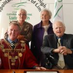 Mayoral Reception at the Council Chamber to Limerick Literary Icons: Mae Leonard, Maureen Sparling, Michael Sheahan, Mayor of Limerick, and Malachy McCourt. Picture: Bruna Vaz Mattos/ ilovelimerick
