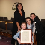Sinead Downes, Lauren Downes, Katelyn Downes, Des Downes at the Mayoral Reception hosted by Municipal Mayor Daniel Butler in Council Chamber, Merchant Quay, Limerick for Cliona's Foundation for their work in supporting families of children who are critically or terminally ill. Picture: Conor Owens/ilovelimerick.