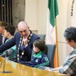 Alan McGrath, Jimmy Crowe, Daniel Butler, Mayor, Fionn O'Hehir and Terry Ring, founder at the Mayoral Reception hosted by Municipal Mayor Daniel Butler in Council Chamber, Merchant Quay, Limerick for Cliona's Foundation for their work in supporting families of children who are critically or terminally ill. Picture: Conor Owens/ilovelimerick.