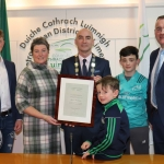 Alan McGrath, Terry Ring, founder, Daniel Butler, Mayor, Fionn O'Hehir, Jimmy Crowe and Brendan Ring, founder, at the Mayoral Reception hosted by Municipal Mayor Daniel Butler in Council Chamber, Merchant Quay, Limerick for Cliona's Foundation for their work in supporting families of children who are critically or terminally ill. Picture: Conor Owens/ilovelimerick.