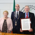 Theresa O'Brien, Mungret, Limerick Metropolitan Mayor Daniel Butler and Patrick O'Brien at the Mayoral Reception that took place in the Limerick Council Chamber in honour of Phil McCarthy, Patrick Halpin and Patrick O'Brien, Thursday, July 26, 2018.