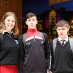 Amy Warington, 16, Aaron O'Sullivan, 16 and J.P. McNamara, 16, from Gaelcholáiste Luimnigh at the Midwest Empowerment and Equality Conference 2019 in University Concert Hall, Limerick on May 1st. Picture: Zoe Conway