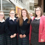 Students Rachel Freeney, 15, Sarah Kavanagh, 16, Zuzanna Gruszecka, 16, with teacher Stephanie Mullane from John the Baptist, Hospital at the Midwest Empowerment and Equality Conference 2019 in University Concert Hall, Limerick on May 1st. Picture: Zoe Conway