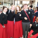 Ava Horgan, 16, Emily Calton O'Keeffe, 16, Makayla Ryan-Wade, 16, Marcus Cropper, 16, and Mercy Oyewo, 17, from Gaelcholáiste Luimnigh at the Midwest Empowerment and Equality Conference 2019 in University Concert Hall, Limerick on May 1st. Picture: Zoe Conway