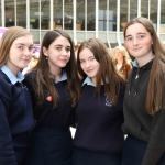 Lucy Hall, 16, Jessica Wheelan, 16, Siobhan Prentice, 16 and Roisin Downey, 16, from St Anne's, Killaloe, at the Midwest Empowerment and Equality Conference 2019 in University Concert Hall, Limerick on May 1st. Picture: Zoe Conway