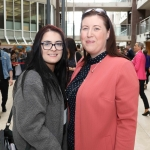 Laura Powell, Neenagh, and teacher Stephanie Mullane from John the Baptist, Hospital at the Midwest Empowerment and Equality Conference 2019 in University Concert Hall, Limerick on May 1st. Picture: Zoe Conway