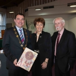 Cllr James Collins, Mayor of Limerick City and Council, Geraldine and Paddy Brennan at the Mayoral Reception for Paddy Brennan's new book 'The History of Limerick Music from 1800 - 2018' in the Council Chambers. Picture: Conor Owens/ilovelimerick.