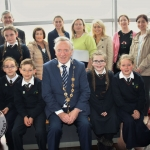 Students and staff of Our Lady Queen of Peace School, Janesboro, Limerick and Mayor of Limerick City and County, Stephen Keary at the Pay It Forward Kindness Flags Awards at King Johns Castle. Tuesday, May 15, 2018. Picture: Sophie Goodwin/ilovelimerick.