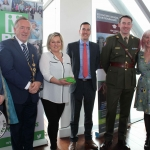 Jared Nadin, Mayor Steven Keary, Linda Hall Education Manager at King John's Castle, Nial O'Callaghan Managing Director of Shanon Heritage, Commandant Martin McGrath and Siobhan Everard at the Pay It Forward Limerick event at King Johns Castle on May 15 2018. Picture: Zoe Conway/ilovelimerick.