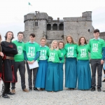 Sinestro the Jester, Mikey Casey and Jared Nadin with Castletroy College students at King John's Castle, Nial O'Callaghan Managing Director of Shanon Heritage, Commandant Martin McGrath and Siobhan Everard at the Pay It Forward Limerick event at King Johns Castle on May 15 2018. Picture: Zoe Conway/ilovelimerick.