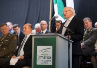 29.09.14         NO REPRO FEE President of Ireland, Michael D Higgins, has become the first recipient of the honour of Freedom of Limerick following a ceremony in Limerick City this afternoon. Pictured is President Michael D Higgins addressing guests at his official presentation ceremony. Milk Market, Limerick. Picture credit: Diarmuid Greene / Fusionshooters