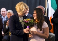 29.09.14         NO REPRO FEE President of Ireland, Michael D Higgins, has become the first recipient of the honour of Freedom of Limerick following a ceremony in Limerick City this afternoon. Pictured is Sabina Higgins, wife of President Michael D Higgins, receiving a bouquet of flowers from Isobel Korucu, a 6th class student at Limerick School Project. Milk Market, Limerick. Picture credit: Diarmuid Greene / Fusionshooters