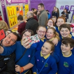 20/01/17 REPRO FREE Pictured at the 2017 RDS Primary Science Fair Limerick was Garda Michael Hennessy who photobombed St Ciaran Mixed NS, Tullamore, Offaly selfie. This year the Limerick Fair doubled capacity to 120 schools, in only its second year. In total, across three venues: Dublin, Limerick and Belfast, a total of 7,500 primary school students will participate at the Fair. This is the first year of the RDS Primary Science Fair Belfast. Photo: Sean Curtin True Media.