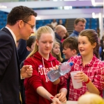 REPRO FREE 22/01/17 Pictured at the 2017 RDS Primary Science Fair Limerick was Minister for Sports and Tourism, Patrick O Donovan with Hollie Cosgrave and Aoife Purcell from Nicker NS, Pallasgrean, Co. Limerick. This year the Limerick Fair doubled capacity to 120 schools, in only its second year. In total, across three venues: Dublin, Limerick and Belfast, a total of 7,500 primary school students will participate at the Fair. This is the first year of the RDS Primary Science Fair Belfast. Picture Oisin McHugh True Media.