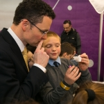 REPRO FREE 22/01/17 Pictured at the 2017 RDS Primary Science Fair Limerick was Minister for Sports and Tourism, Patrick O Donovan with Brian Siebert from Herbertstown NS, Kilmallock, Co. Limerick. This year the Limerick Fair doubled capacity to 120 schools, in only its second year. In total, across three venues: Dublin, Limerick and Belfast, a total of 7,500 primary school students will participate at the Fair. This is the first year of the RDS Primary Science Fair Belfast. Picture Oisin McHugh True Media.