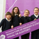 REPRO FREE 22/01/17 Pictured at the 2017 RDS Primary Science Fair Limerick was Tiana O Sullivan, Rachel Casey, Mary Kate Herbert and Sophie O Byrne from Bulgaden NS, Killmallock, Co. Limerick. This year the Limerick Fair doubled capacity to 120 schools, in only its second year. In total, across three venues: Dublin, Limerick and Belfast, a total of 7,500 primary school students will participate at the Fair. This is the first year of the RDS Primary Science Fair Belfast. Picture Oisin McHugh True Media.