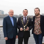 Pictured in House Limerick for the launch of Riverfest Limerick 2019 are Reverend Paul Fitzpatrick, Cllr James Collins, Mayor of Limerick City and Council, and Mark O'Connor. Picture: Conor Owens/ilovelimerick.