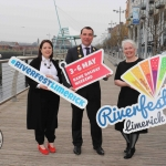 Pictured in House Limerick for the launch of Riverfest Limerick 2019 are Aoife Potter Cogan, Cllr James Collins, Mayor of Limerick City and Council, and Sheela Deegan. Picture: Conor Owens/ilovelimerick.