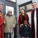 Pictured is Metropolitan Mayor of Limerick Michael Sheahan, Mr. Tom Marsden, Shekinah, Principle of Saint Michaels National School Merrium Smith, and Bishop of Limerick Brendan Leahy. Anthony Sheehan/ilovelimerick