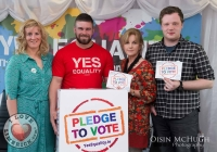 07/04/2015    Fiona Ryan, Duncan Casey (Munster Rugby), Lucy Dineen and Drew Murphy at the Yes Equality Limerick launch at the Limerick Strand Hotel.  Picture: Oisin McHugh      www.oisinmchughphoto.com