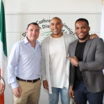 At the Simon Zebo Mayoral reception Cllr James Collins, Simon Zebo and David Idioh. Picture: Zoe Conway/ilovelimerick.