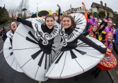 REPRO FREE 17/03/17 Jane McDonagh and Grace Stewart, Spotlight Stage school at the annual St Patrick's Day parade in Limerick. Limerick celebrated in style and colour as around 4,000 participants marched down the city's main street (O'Connell Street) for the annual St Patrick's Day parade. The inclement weather failed to dampen the spirits of the estimated 50,000 people who cheered and encouraged the almost 100 different community and theatre groups, companies, sports clubs and bands who entertained the spectators along the route. Fourteen-year-old Limerick Person of the Year and cyberbullying campaigner Luke Culhane led out the parade, which this year had as its theme Our Stories – this is where we belong. Picture Sean Curtin True Media.