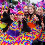 REPRO FREE 17/03/17 The Pineapples from Spotlight Stage school at the annual St Patrick's Day parade in Limerick. Limerick celebrated in style and colour as around 4,000 participants marched down the city's main street (O'Connell Street) for the annual St Patrick's Day parade. The inclement weather failed to dampen the spirits of the estimated 50,000 people who cheered and encouraged the almost 100 different community and theatre groups, companies, sports clubs and bands who entertained the spectators along the route. Fourteen-year-old Limerick Person of the Year and cyberbullying campaigner Luke Culhane led out the parade, which this year had as its theme Our Stories – this is where we belong. Picture Sean Curtin True Media.
