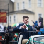REPRO FREE 17/03/17 Fourteen-year-old Limerick Person of the Year and cyberbullying campaigner Luke Culhane at the annual St Patrick's Day parade in Limerick. Limerick celebrated in style and colour as around 4,000 participants marched down the city's main street (O'Connell Street) for the annual St Patrick's Day parade. The inclement weather failed to dampen the spirits of the estimated 50,000 people who cheered and encouraged the almost 100 different community and theatre groups, companies, sports clubs and bands who entertained the spectators along the route. Fourteen-year-old Limerick Person of the Year and cyberbullying campaigner Luke Culhane led out the parade, which this year had as its theme Our Stories – this is where we belong. Picture Sean Curtin True Media.