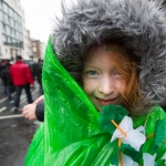 REPRO FREE 17/03/17 Cailin O'Carroll, Limerick at the annual St Patrick's Day parade in Limerick. Limerick celebrated in style and colour as around 4,000 participants marched down the city's main street (O'Connell Street) for the annual St Patrick's Day parade. The inclement weather failed to dampen the spirits of the estimated 50,000 people who cheered and encouraged the almost 100 different community and theatre groups, companies, sports clubs and bands who entertained the spectators along the route. Fourteen-year-old Limerick Person of the Year and cyberbullying campaigner Luke Culhane led out the parade, which this year had as its theme Our Stories – this is where we belong. Picture Sean Curtin True Media.