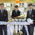 "22/03/2018 Peader Talbot, Daniel Moloney and Adam O'Sullivan from Ardscoil Ris pictured with their exhibit ""Sports Storage"" at the Limerick Local Enterprise Office, Student Enterprise Programme Final Exhibition and Awards Presentation which took place at the Southcourt Hotel, Limerick. Don Moloney / Press 22"