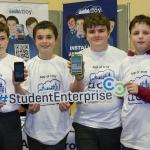 "22/03/2018 Joe Kelly, Ciaran Fitzgerald, Adam Flahive and Finlay Robertson from Castletroy College pictured with their exhibit ""App of Troy"" at the Limerick Local Enterprise Office, Student Enterprise Programme Final Exhibition and Awards Presentation which took place at the Southcourt Hotel, Limerick. Don Moloney / Press 22"